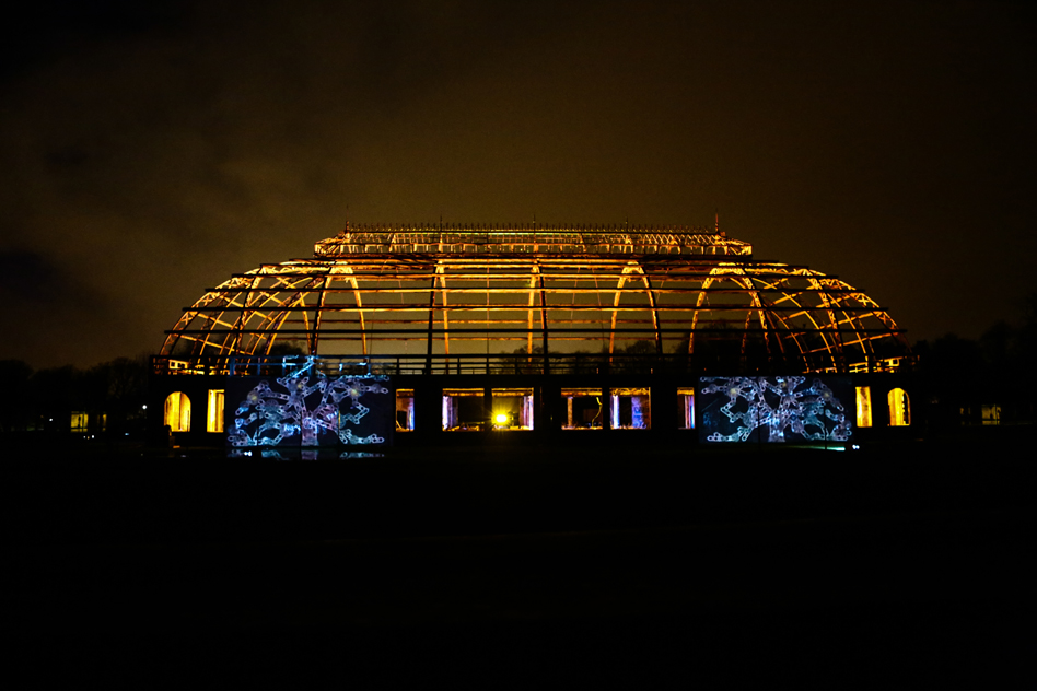 The Winter Gardens in Springburn lit by the national theatre of scotland