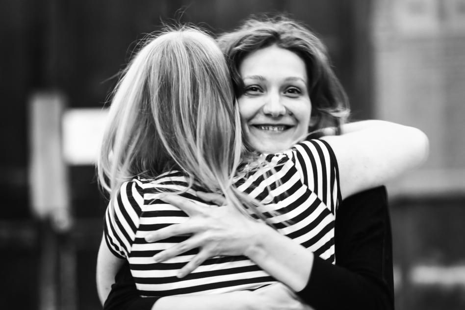 govan acting class two women hug
