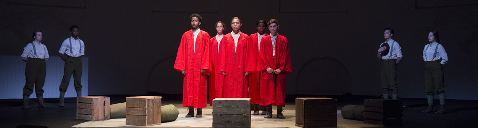 actors dressed in red robes